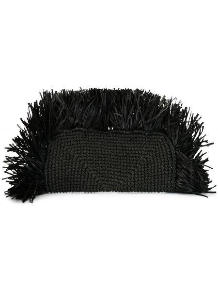 Черная соломенная сумка металлическая с потайной застежкой 0711