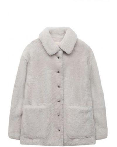 Белая шуба из овчины с подкладкой Brunello Cucinelli