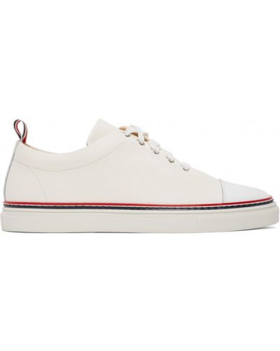 Skórzane sneakersy białe sznurowane Thom Browne