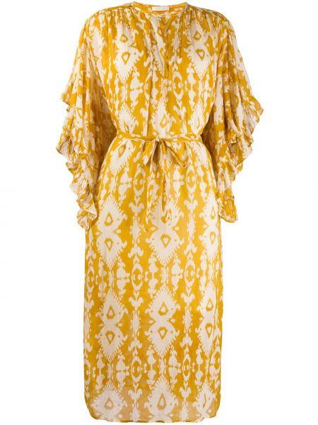 Платье миди с V-образным вырезом с абстрактным принтом Mes Demoiselles
