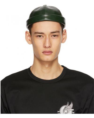 Zielona czapka z haftem skórzana Junya Watanabe