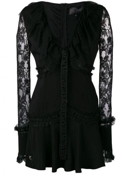Платье мини со вставками с V-образным вырезом Philipp Plein