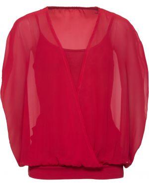 Блузка с коротким рукавом боди с запахом Bonprix