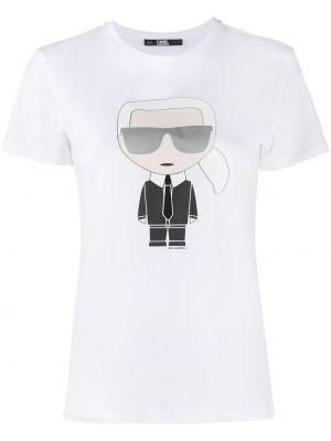 Прямая белая футболка с вырезом Karl Lagerfeld
