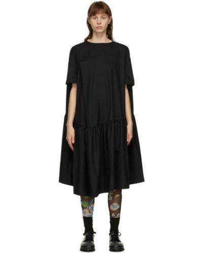 С рукавами с заниженной талией черное платье с воротником Henrik Vibskov