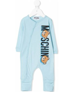 Комбинезон синий с логотипом Moschino Kids