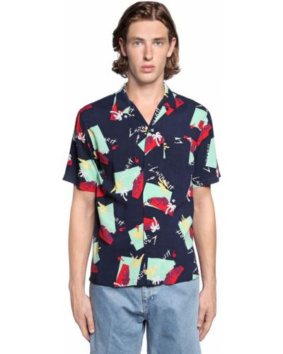 Niebieska koszula z wiskozy z printem Carhartt