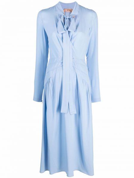Платье макси с длинными рукавами - синее N°21