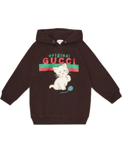 Bawełna brązowy bluza z kapturem z haftem zabytkowe Gucci Kids