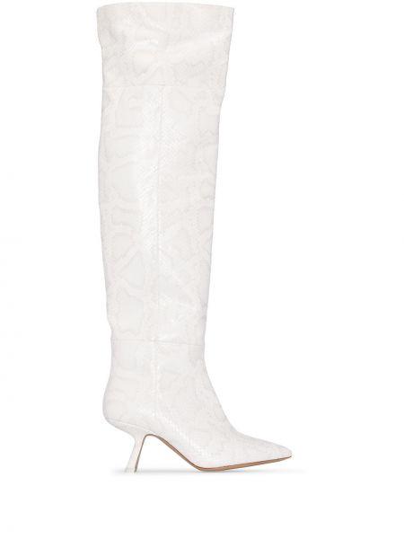 Biały wysoki buty z prawdziwej skóry w połowie kolana Nicholas Kirkwood