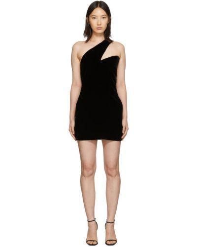 Платье через плечо шелковое Saint Laurent