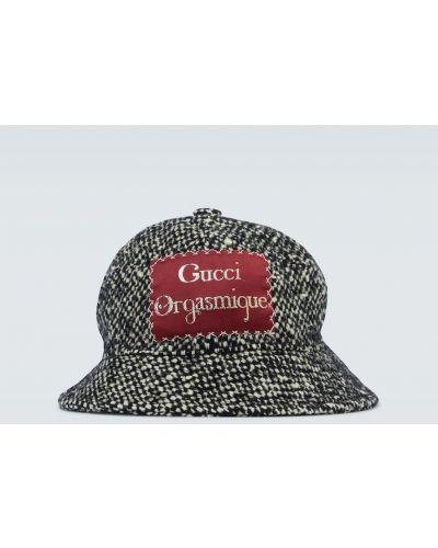 Акриловая черная шляпа с широкими полями свободного кроя Gucci