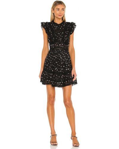 Хлопковое кружевное черное платье мини Saylor