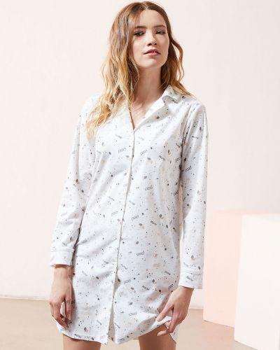 Piżama z koszulą z długimi rękawami materiałowa zapinane na guziki Etam