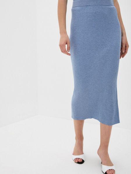 Синяя юбка карандаш с рукавом 3/4 Rodier