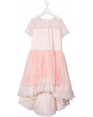 Różowa sukienka mini koronkowa asymetryczna Aletta