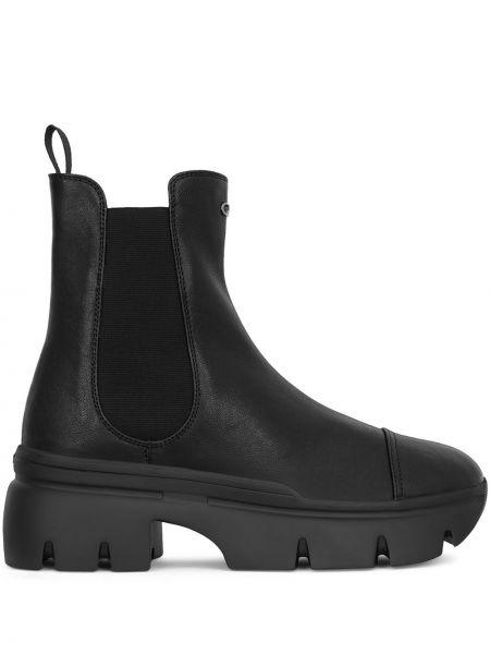 Czarny buty skórzane z prawdziwej skóry na pięcie okrągły nos Giuseppe Zanotti