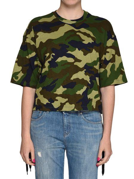 Хлопковая футболка - зеленая Kendall + Kylie
