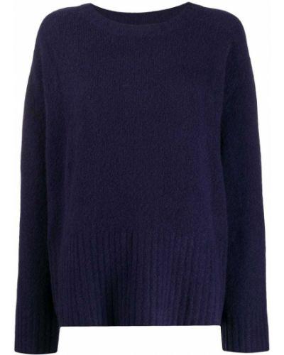 Свободный синий кашемировый длинный свитер 6397