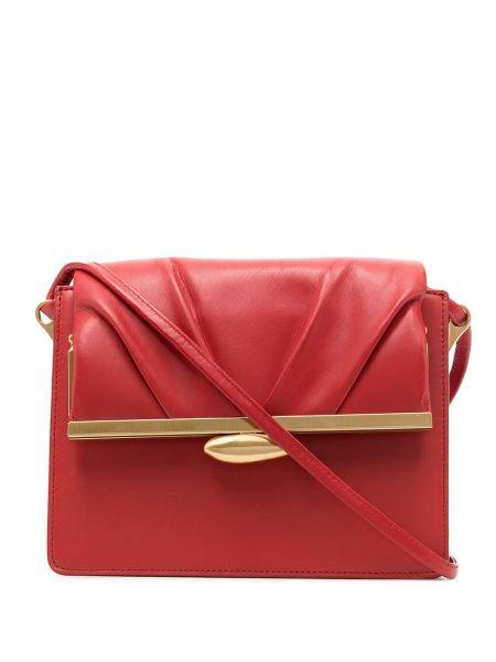 С ремешком кожаная красная сумка через плечо квадратная Reike Nen