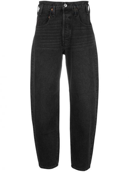 Czarny z wysokim stanem klasyczny jeansy z kieszeniami Re/done