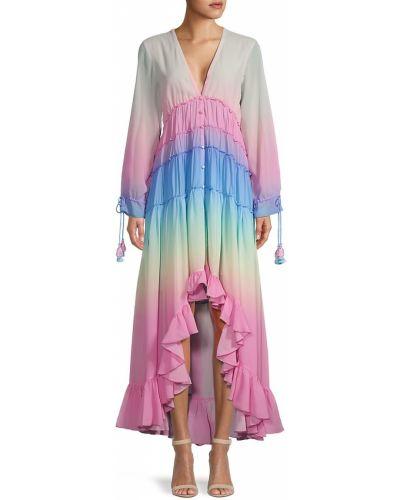 Розовое платье макси с длинными рукавами с подкладкой Rococo Sand