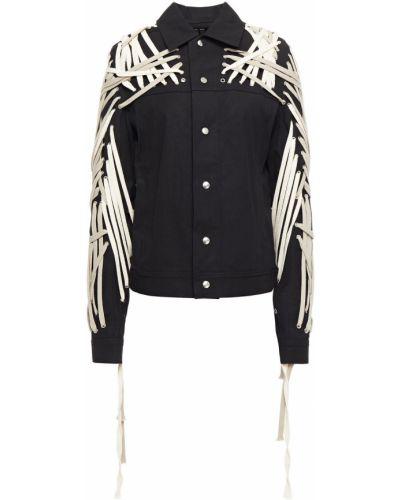 Czarna kurtka bawełniana koronkowa Rick Owens