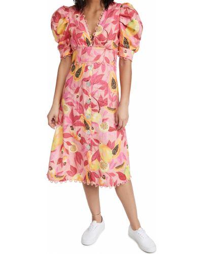 Różowa sukienka midi koronkowa z printem Farm Rio
