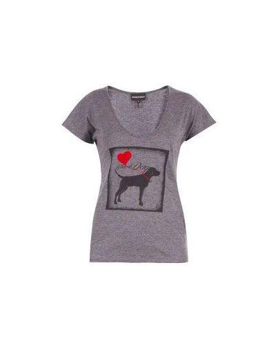 Серая хлопковая футболка Emporio Armani