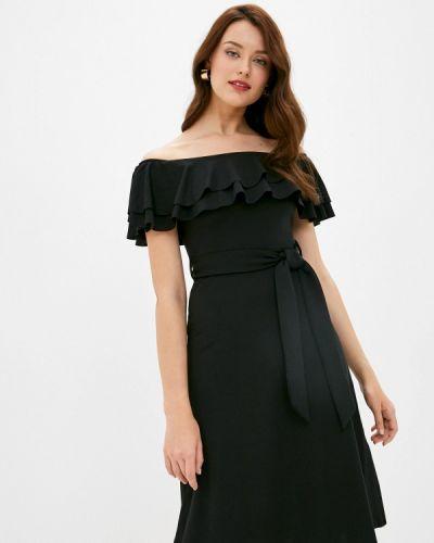 Черное платье с открытыми плечами Trendyol