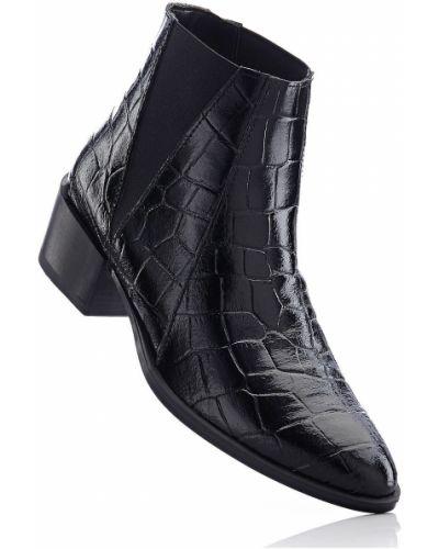 Черные кожаные сапоги из крокодила Bonprix