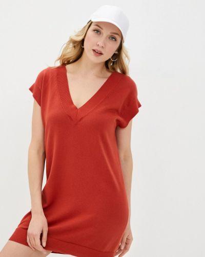 Трикотажное красное вязаное платье Rodier
