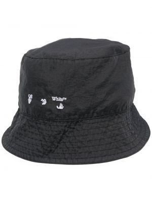 Czarny kapelusz z nylonu z printem Off-white