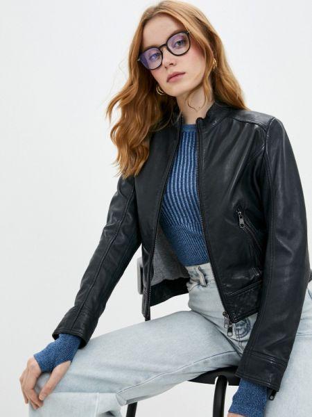 Кожаная куртка осенняя синий Boss