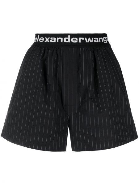 Bawełna czarny szorty z paskami Alexander Wang