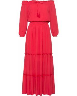 Летнее платье с вырезом красный Bonprix