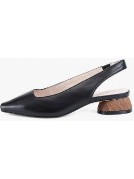 Черные кожаные туфли с открытой пяткой из натуральной кожи Portal