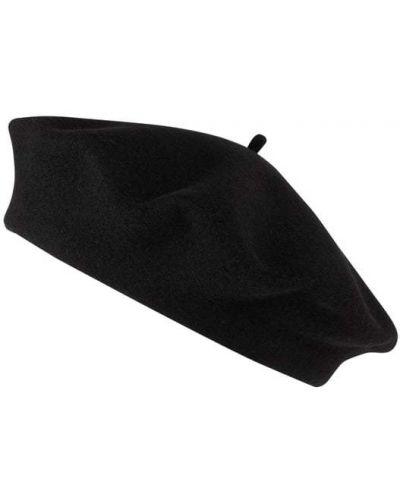 Wełniany czarny beret okrągły Loevenich