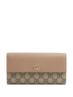 Różowy skórzany portfel z kieszeniami Gucci