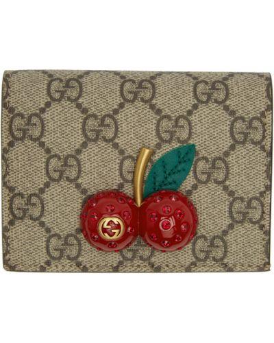 Czarny portfel skórzany z gniazdem prążkowany z prawdziwej skóry Gucci