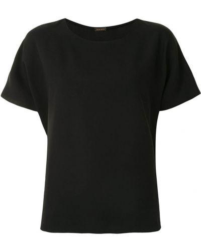Черный шелковый с рукавами топ Adam Lippes