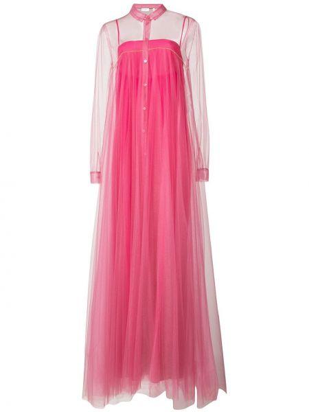 Różowa sukienka długa z nylonu Vionnet
