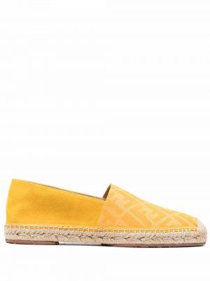 Espadryle skorzane - żółte Fendi