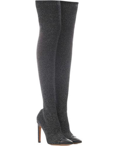 Srebro skórzany buty rozciągać w połowie kolana Givenchy
