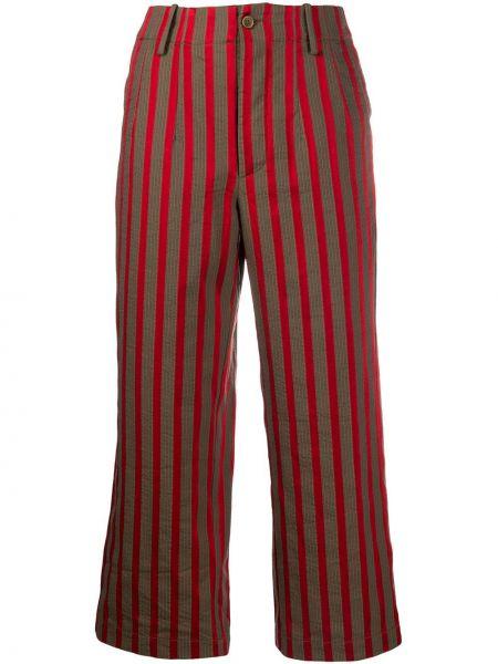 Хлопковые коричневые укороченные брюки с карманами на молнии Uma Wang