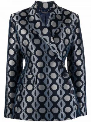 Синий удлиненный пиджак с карманами на пуговицах Charles Jeffrey Loverboy