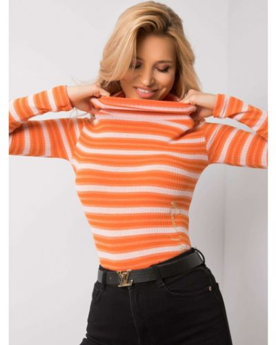 Pomarańczowy sweter materiałowy Fashionhunters