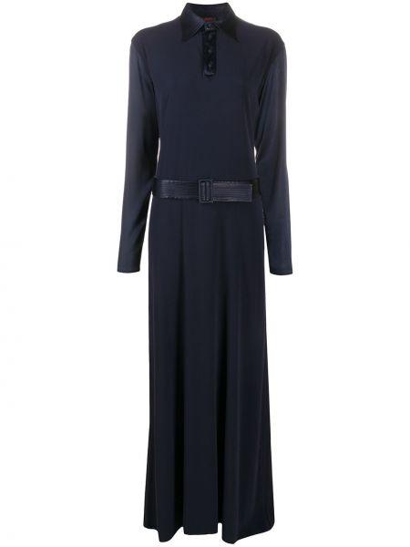 Синее классическое платье макси на пуговицах с воротником Jean Paul Gaultier Pre-owned
