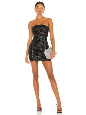 Czarna sukienka skórzana Superdown