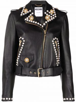 Черная куртка байкерская Moschino